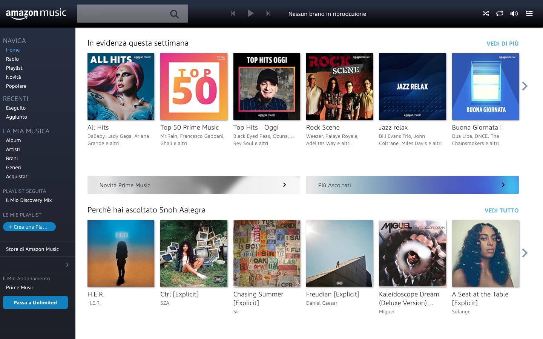 Piattaforme di musica in streaming   Amazon Music