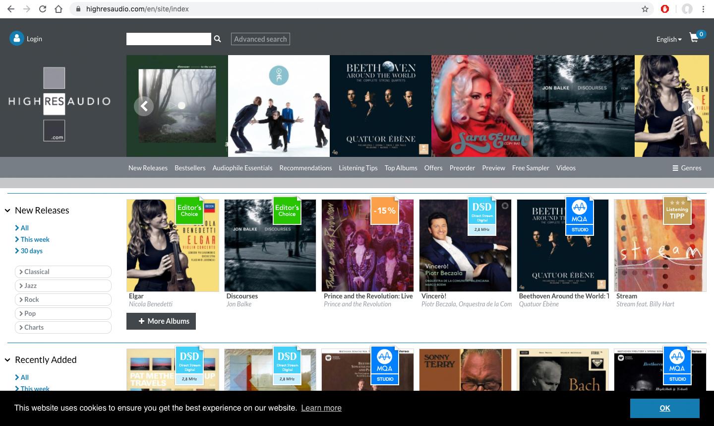 Piattaforme di musica in streaming   HighResAudio