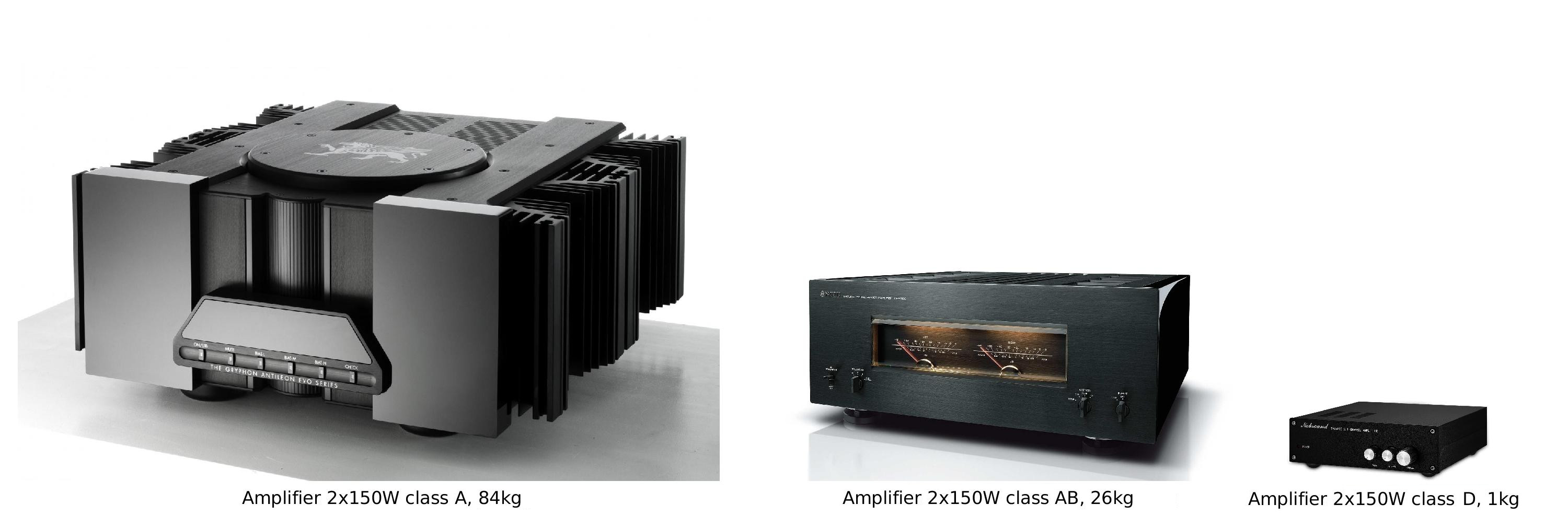 Amplifiers of equal power, 2x150W, compared in terms of class, dimensions and weight