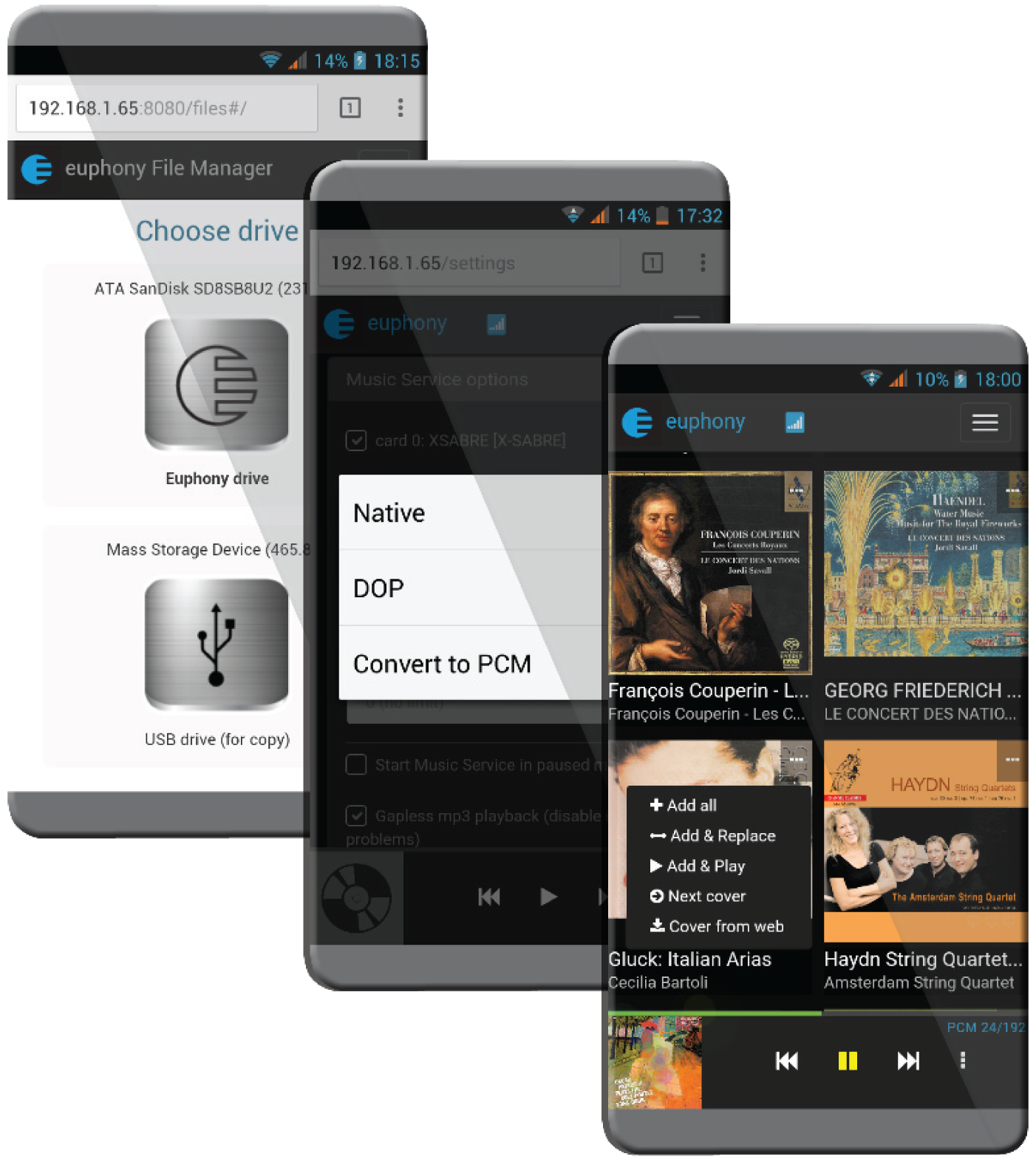 Layout del file manager Euphony Drive