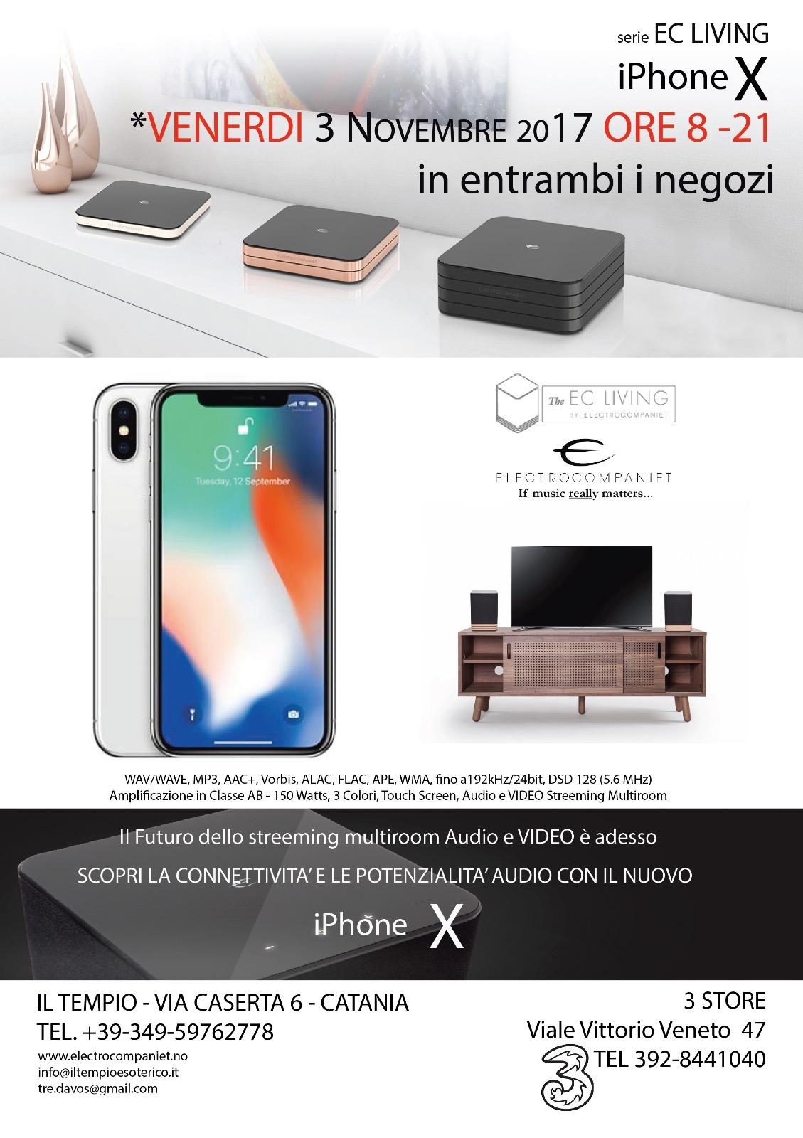 EC Living e iPhone X il 3 novembre presso Il Tempio Esoterico