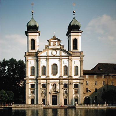 The Baroque Jesuitenkirche in Luzern, Switzerland