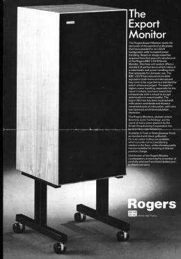 Rogers Export Monitor speakers in a period leaflet