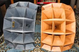 On the left is the original Altec 1505B multi-cell horn, and on the right is Markus Klug's Markus Klug's Klughoerner hand-crafted wood replica of the 1505B.<br />To the right in the photo above, you can see Markus' hand-crafted Klughoerner wood replica of the historic Altec 1505B multi-cell horn,<br />sitting next to an original vintage Altec 1505B multi-cell horn (left).