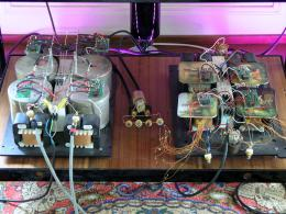 The prototype of the DaVinci Masters Reference Virtu mono pre amplifier with transformers, laid bare,<br />during the burn-in and fine tuning, just a simple simple object…