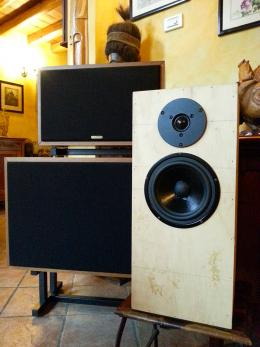 A close-up of the prototype of the CA2, ultimate model of a two-way speaker with a 165 mm woofer and a 28 mm dome tweeter.<br /> Cross frequency 1.500 Hz. In the back, the M1r monitor, three-way with separate top <br />and a 380 mm sub, a 250 mm mid-woofer and a 26 mm dome tweeter. Cross frequencies: 150 Hz and 1.500 Hz.