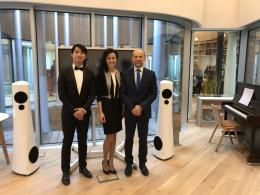 From Left to Right: Yaohan Yang, Devialet EMEA Sales and Marketing Manager, Alissa Vassilkova, Co-Founder and CEO of Estelon, Alfred Vassilkov, Founder and Chief Designer of Estelon – with Estelon YBs and Devialet Expert pro amplifier at the Centre.