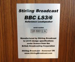 The rear badge of the Stirling LS3/6 speakers